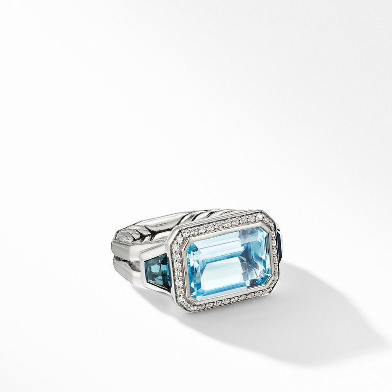 David Yurman Novella Three Stone Ring with Blue Topaz and Pavé Diamonds