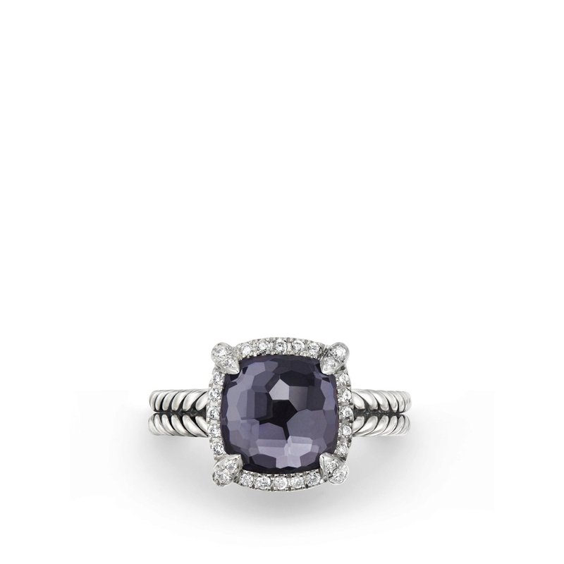 David Yurman Chatelaine® Pave Bezel Ring with Black Orchid and Diamonds mm