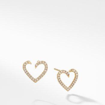 Heart Wrap Earrings with Diamonds in 18K Gold