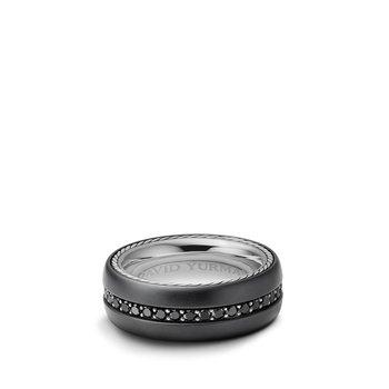 Streamline Wide Band Ring with Black Diamonds and Black Titanium