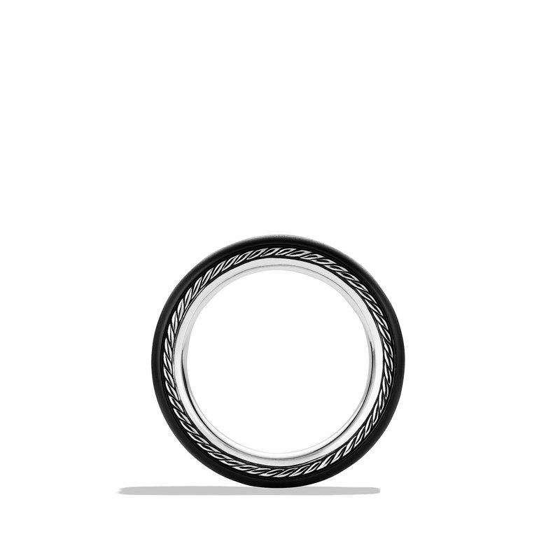 David Yurman Streamline Wide Band Ring with Black Diamonds and Black Titanium