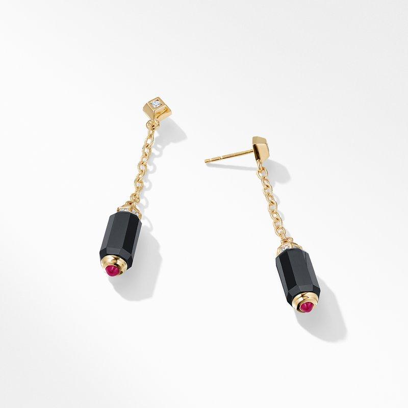 David Yurman Barrels Chain Drop Earrings with Black Onyx Rubies and Diamonds in 18K Gold