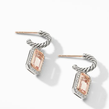 Novella Drop Earrings with Morganite, Pavé Diamonds and 18K Rose Gold