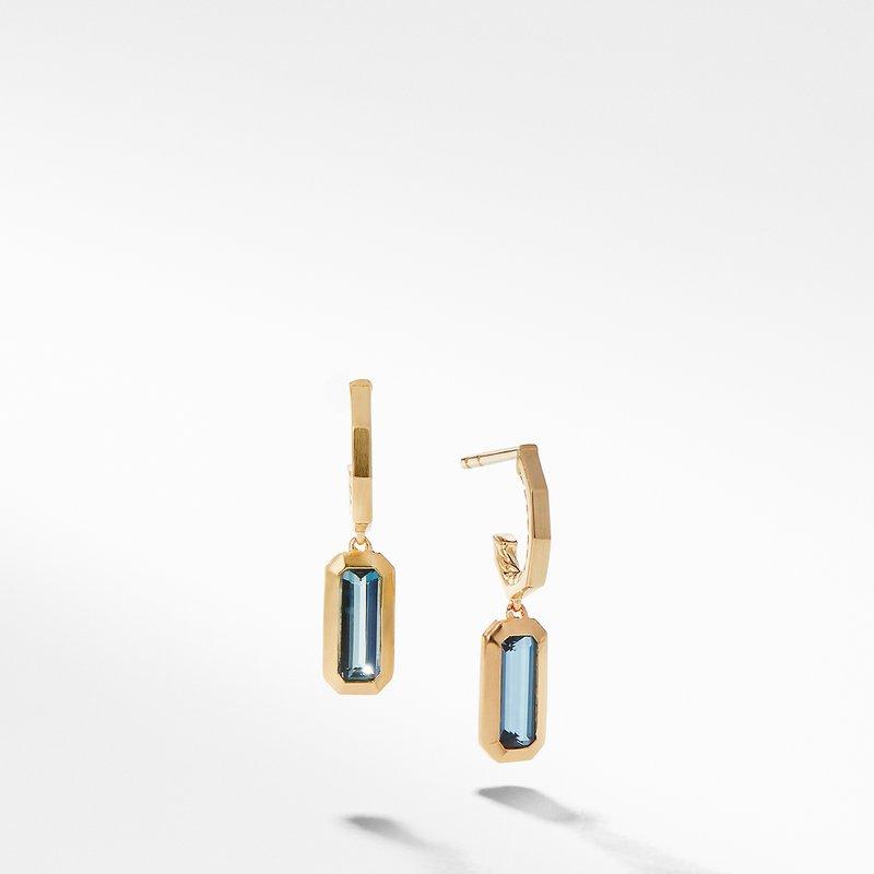 David Yurman Novella Hoop Earrings in Hampton Blue Topaz