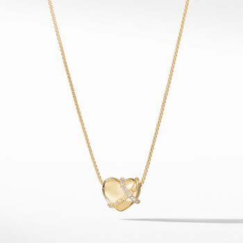 Le Petit Coeur Sculpted Heart Chain Necklace with Diamonds in 18K Gold