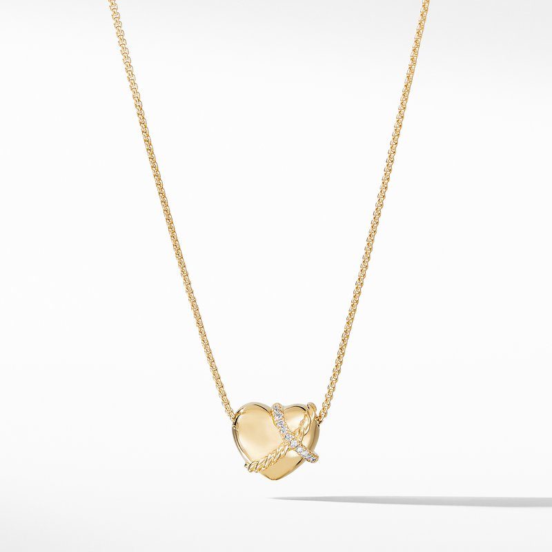 David Yurman Le Petit Coeur Sculpted Heart Chain Necklace with Diamonds in 18K Gold