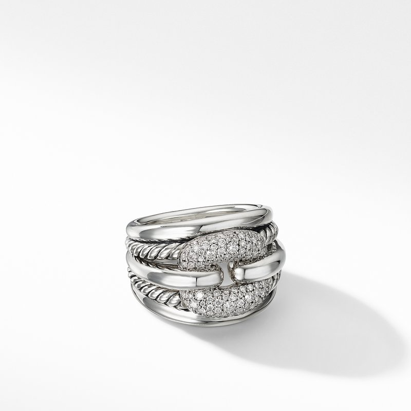 David Yurman Thoroughbred® Cushion Link Ring with Diamonds