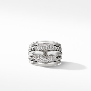 Thoroughbred® Cushion Link Ring with Diamonds