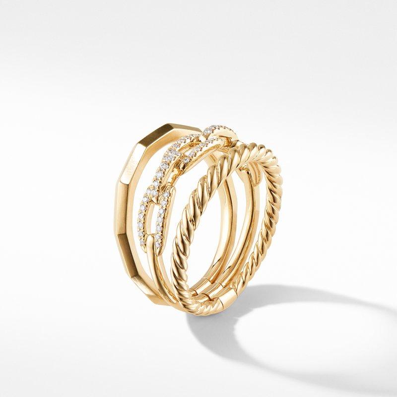 David Yurman Stax Narrow Ring with Diamonds in 18K Gold