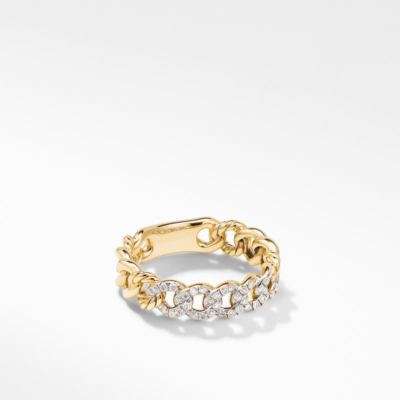 David Yurman Belmont Curb Link Narrow Ring in 18K Yellow Gold with Pavé Diamonds
