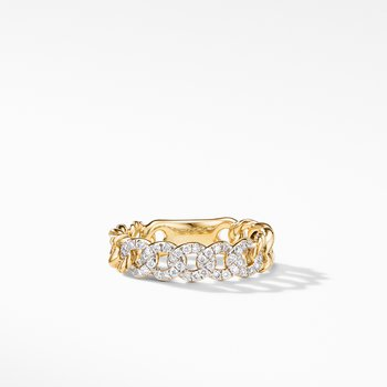 Belmont Curb Link Narrow Ring in 18K Yellow Gold with Pavé Diamonds