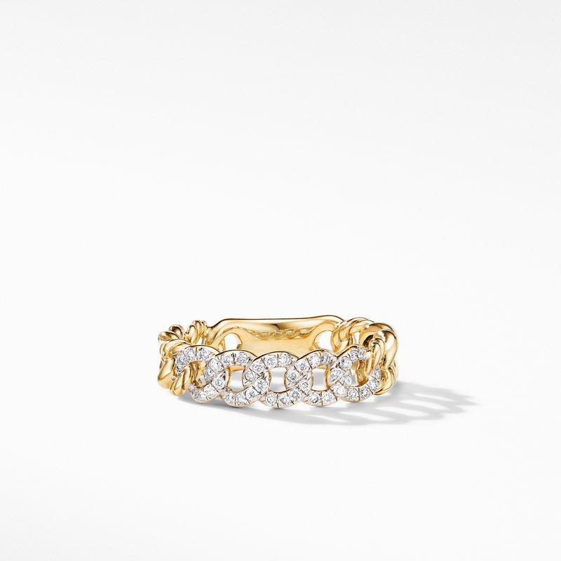 David Yurman Belmont Curb Link Narrow Ring in 18K Yellow Gold with Pavé Diamonds