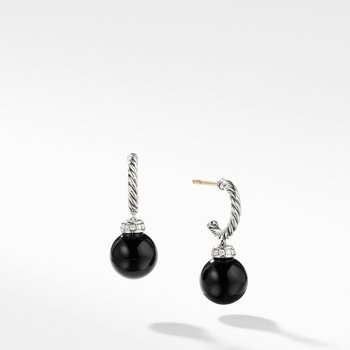 Solari Hoop Earrings with Diamonds and Black Onyx