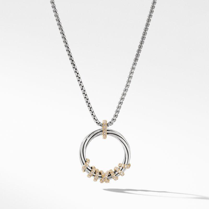 David Yurman Helena Medium Pendant Necklace with Diamonds and 18K Gold,