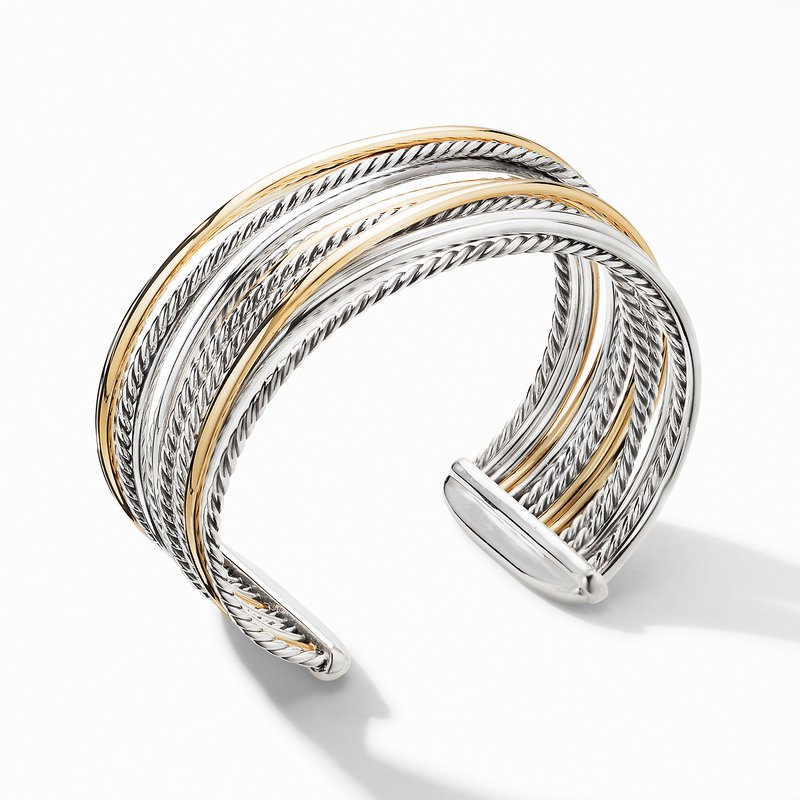 David Yurman The Crossover Collection® Wide Cuff Bracelet with 18K Yellow Gold