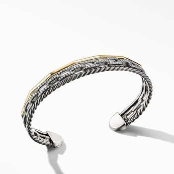 Stax Three-Row Cuff Bracelet in Blackened Silver with Diamonds