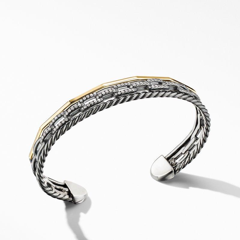 David Yurman Stax Three-Row Cuff Bracelet in Blackened Silver with Diamonds