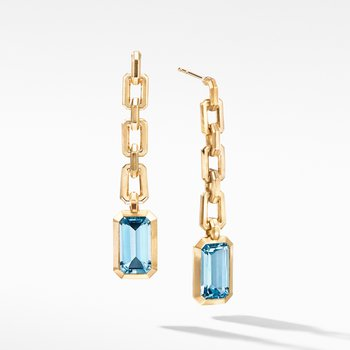 Novella Chain Drop Earrings in 18K Yellow Gold with Blue Topaz