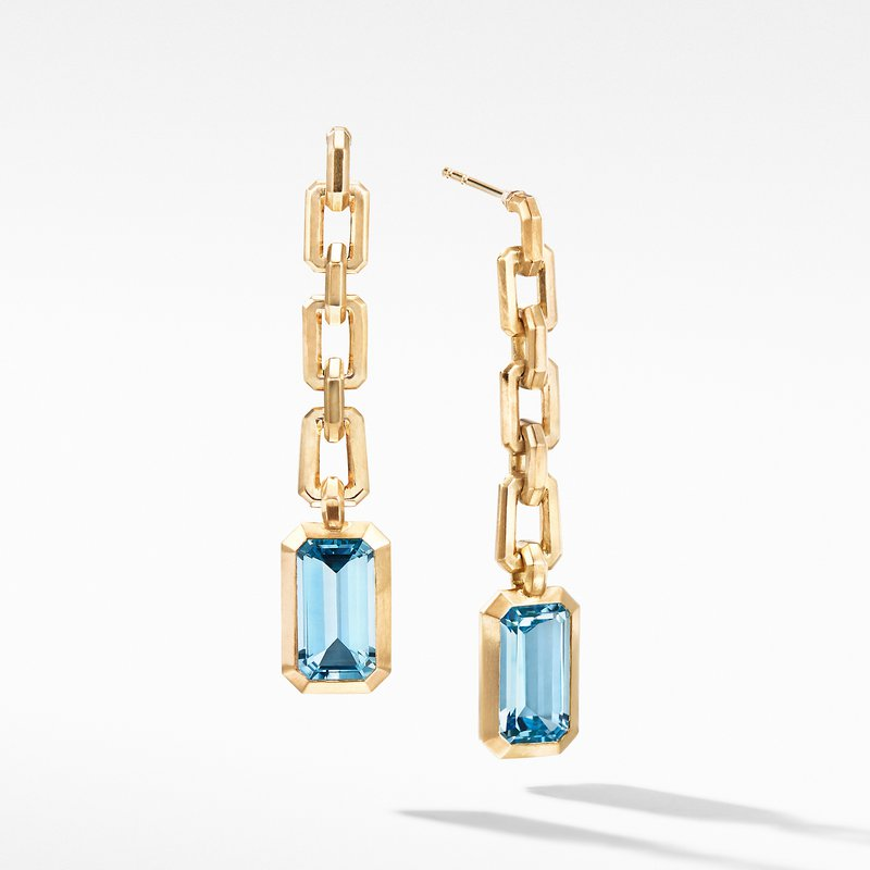 David Yurman Novella Chain Drop Earrings in 18K Yellow Gold with Blue Topaz