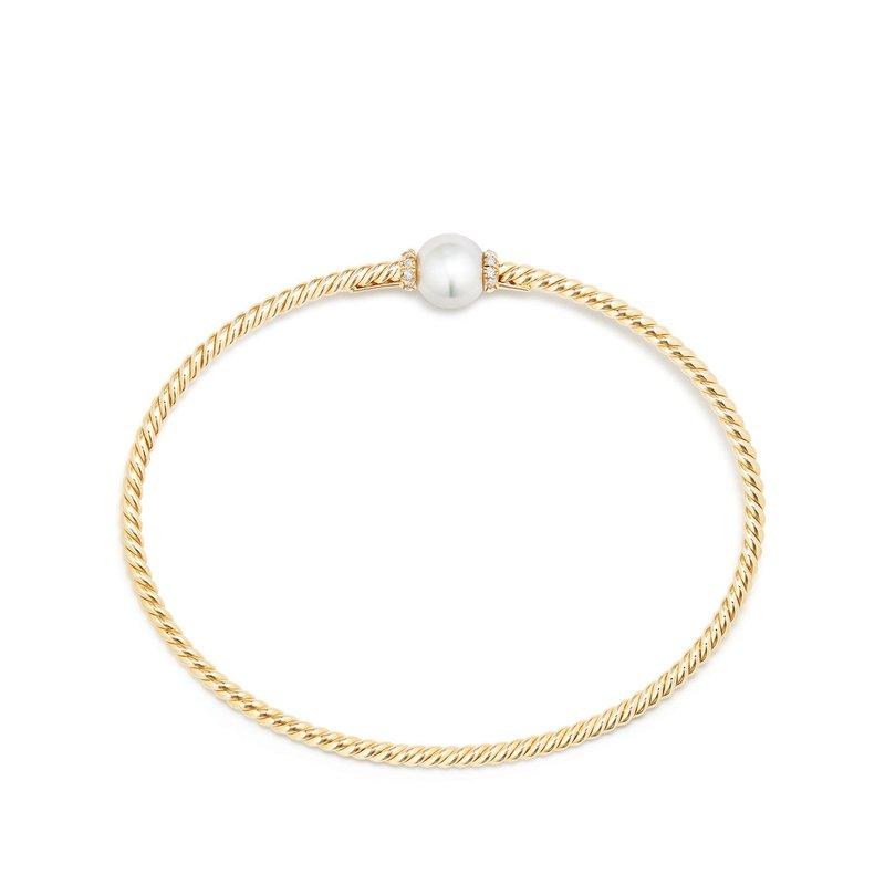 David Yurman Petite Solari Station Bracelet with Cultured Pearl and Diamonds in 18K Gold