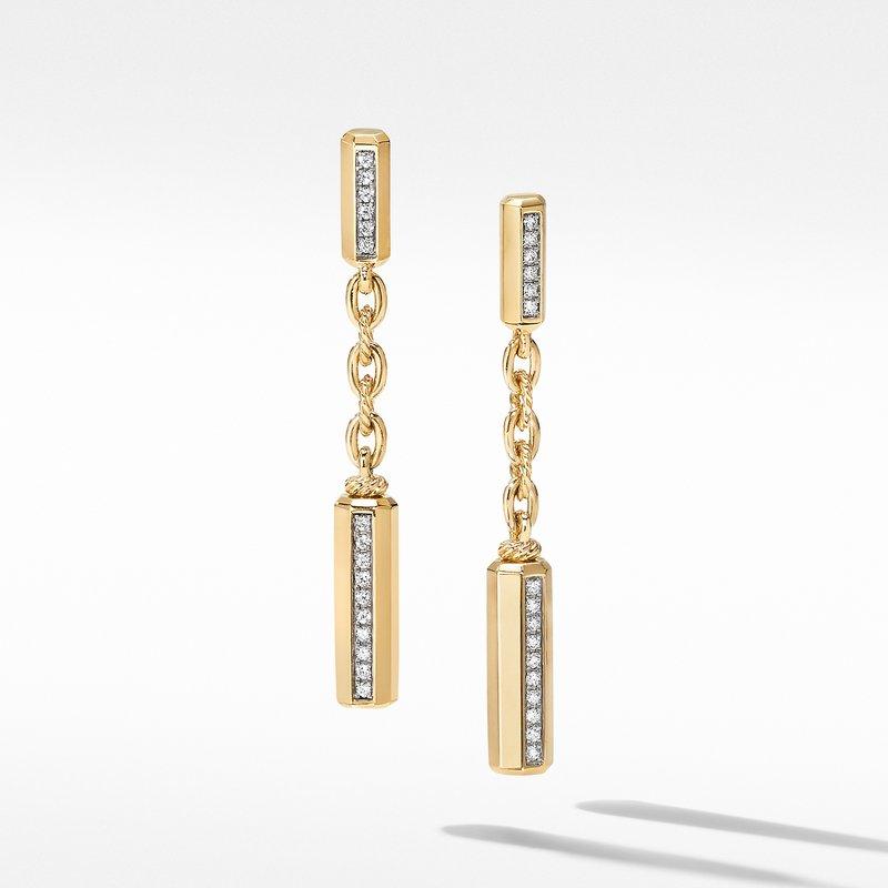 David Yurman Lexington Chain Drop Earrings 18K Yellow Gold with Diamonds