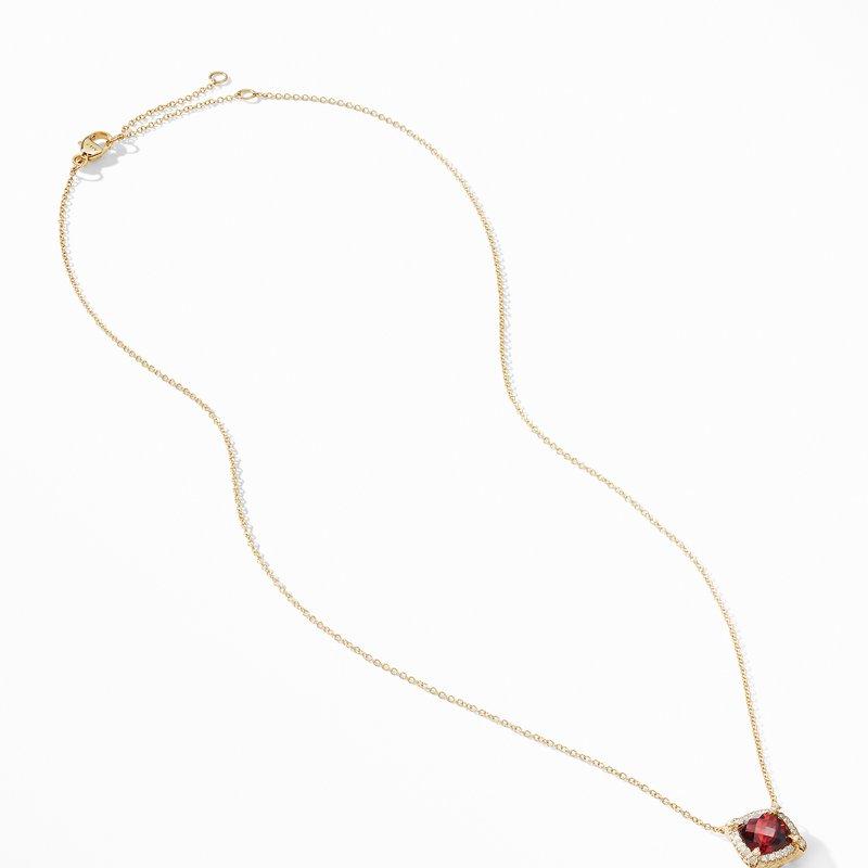 David Yurman Petite Chatelaine® Pavé Bezel Pendant Necklace in 18K Yellow Gold with Garnet