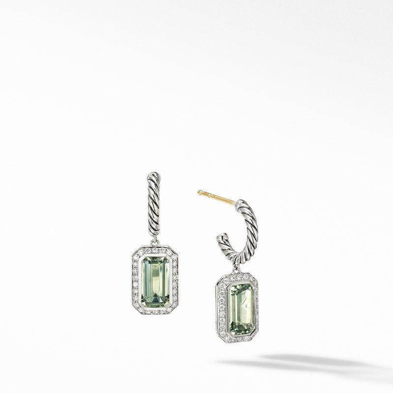 David Yurman Novella Drop Earrings with Prasiolite and Pavé Diamonds