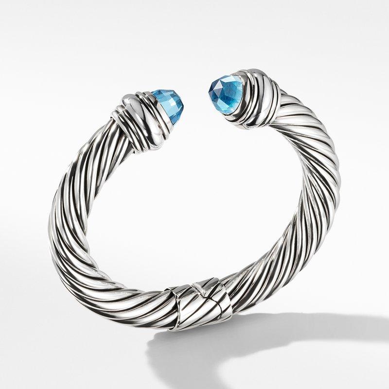 David Yurman Cable Classics Bracelet with Blue Topaz, 10mm
