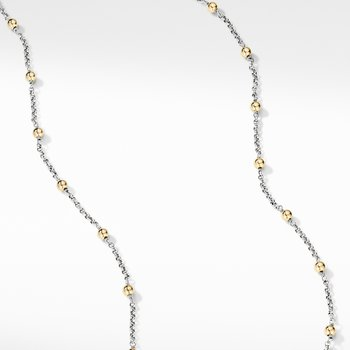 Cable Collectibles® Bead and Chain Necklace with 18K Yellow Gold Domes