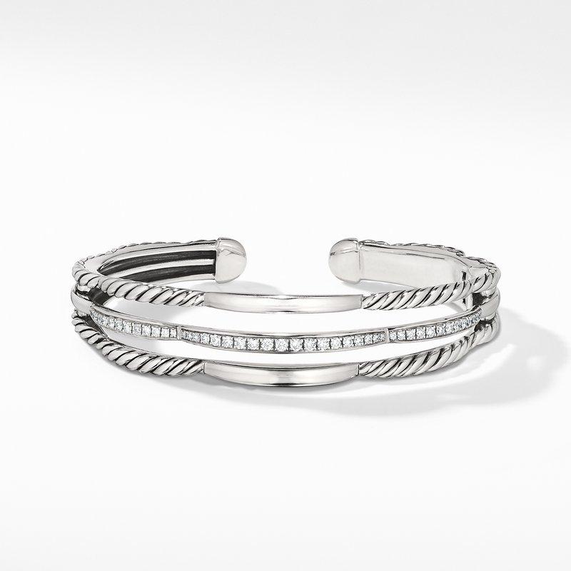 David Yurman Tides Three Row Cuff Bracelet with Diamonds