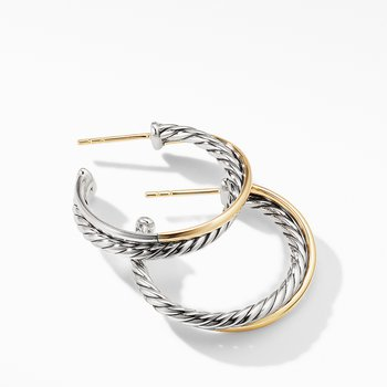 Crossover Medium Hoop Earrings with 18K Yellow Gold
