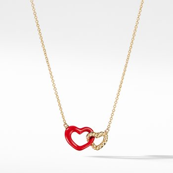 Double Heart Pendant Necklace with Red Enamel and 18K Gold