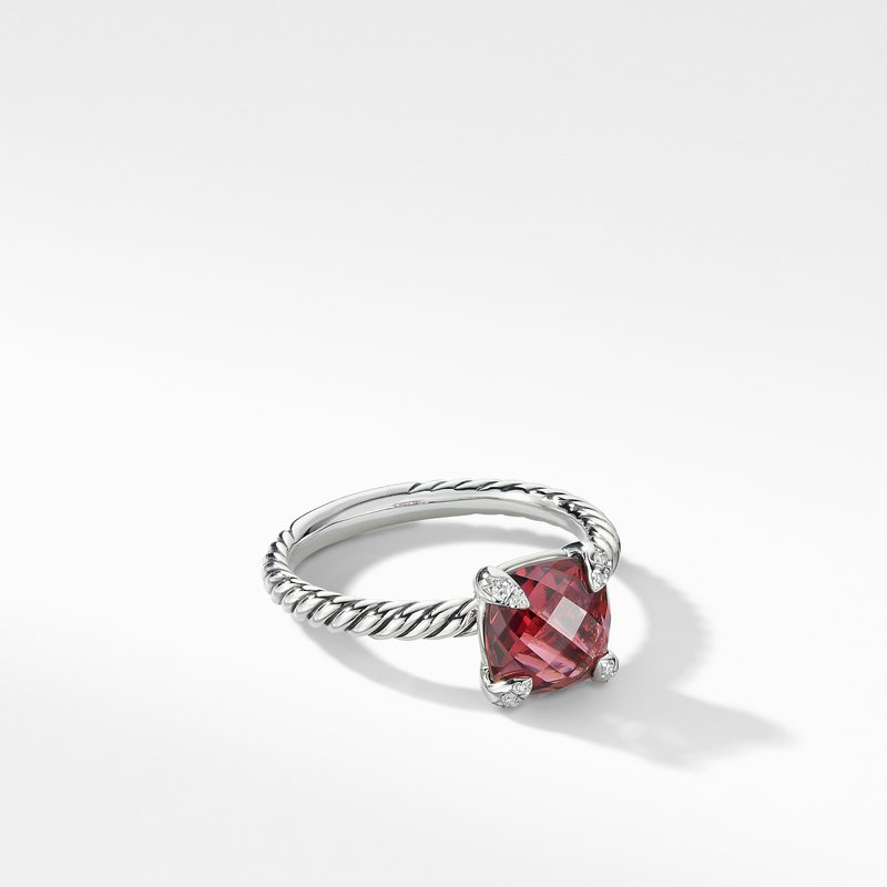 David Yurman Chatelaine® Ring with Rhodalite Garnet and Diamonds