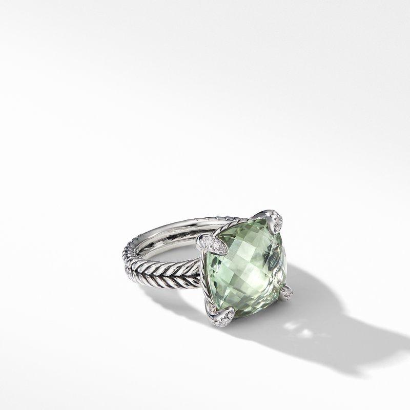 David Yurman Chatelaine® Ring with Prasiolite and Diamonds