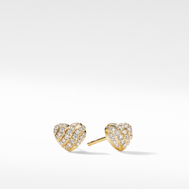 David Yurman Heart Stud Earrings in 18K Yellow Gold with Pavé Diamonds