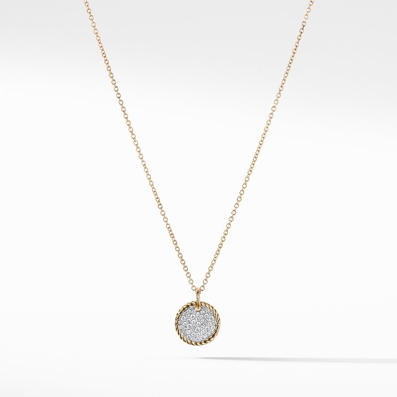 David Yurman Cable Collectibles Pavé Charm Necklace with Diamonds in 18K Gold