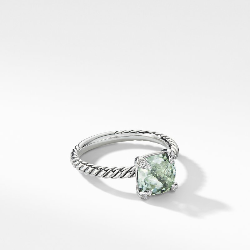 David Yurman Chatelaine® Ring with Prasiolite and Diamonds