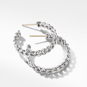Belmont Curb Link Medium Hoop Earrings