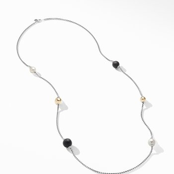 Solari XL Station Chain Necklace with Matte Black Onyx, Pearls and 14K Yellow Gold
