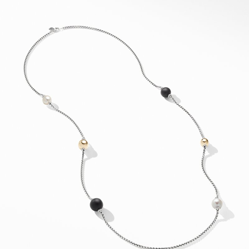 David Yurman Solari XL Station Chain Necklace with Matte Black Onyx, Pearls and 14K Yellow Gold