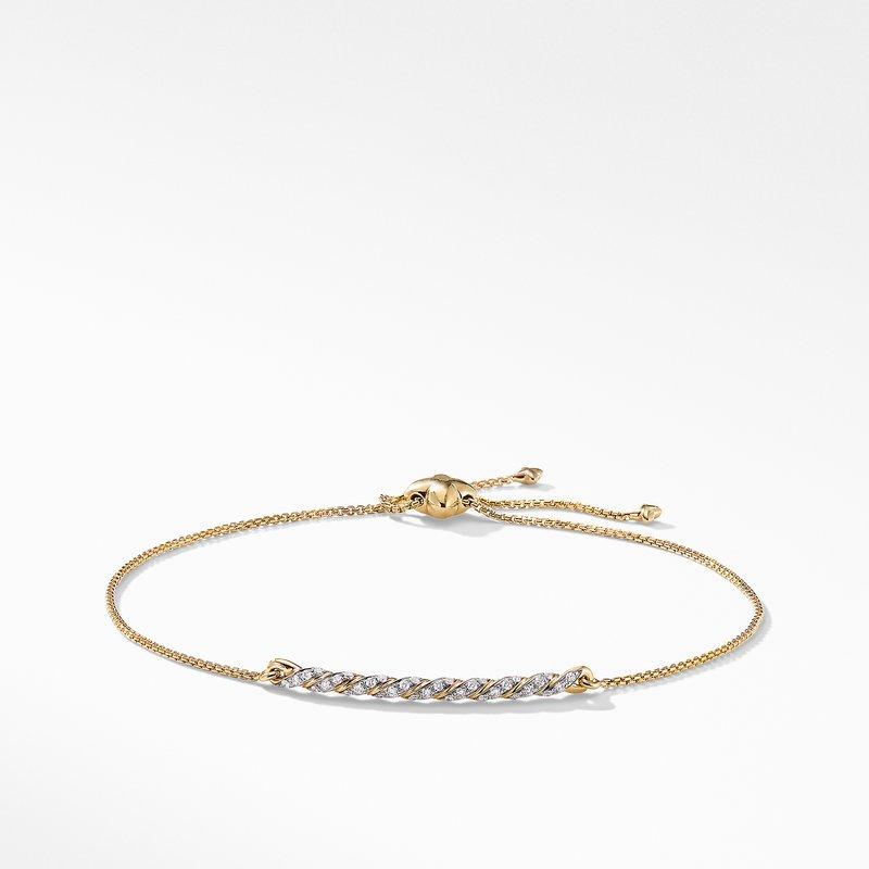 David Yurman Pavéflex Station Bracelet with Diamonds in 18K Gold