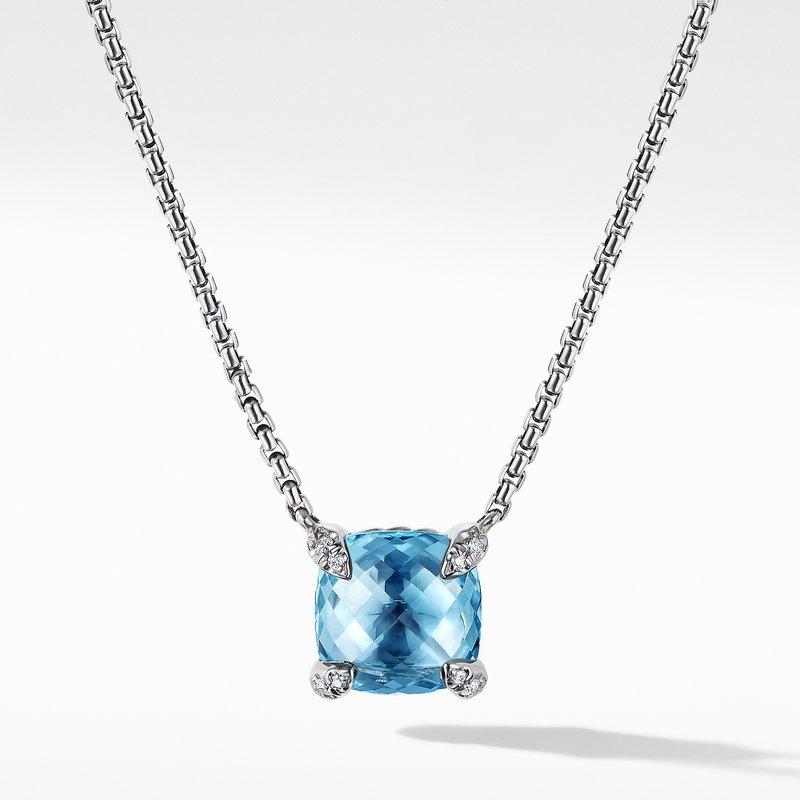 David Yurman Chatelaine® Pendant Necklace with Blue Topaz and Diamonds