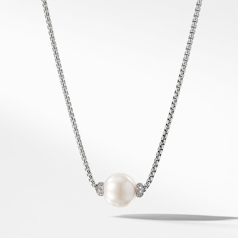 David Yurman Solari Pendant Necklace with Diamonds and Freshwater Pearl