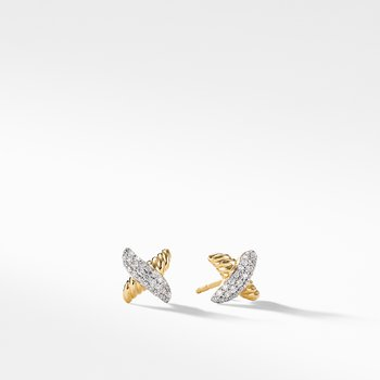 X Earrings with Diamonds in Gold