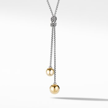 Solari Knot Necklace with 18K Yellow Gold Domes and Pavé Diamonds