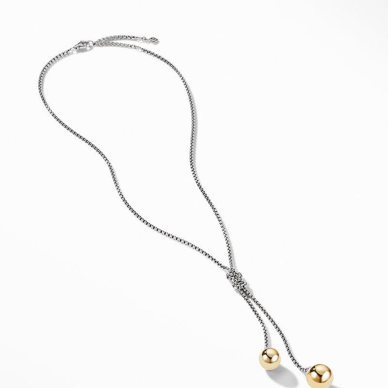 David Yurman Solari Knot Necklace with 18K Yellow Gold Domes and Pavé Diamonds