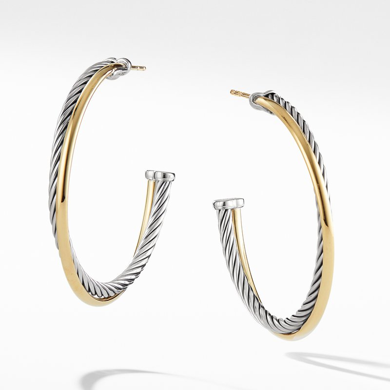 David Yurman Hoop Earrings with 18K Gold