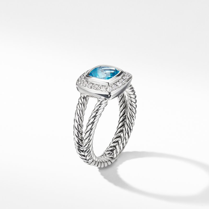 David Yurman Petite Albion® Ring with Blue Topaz and Diamonds