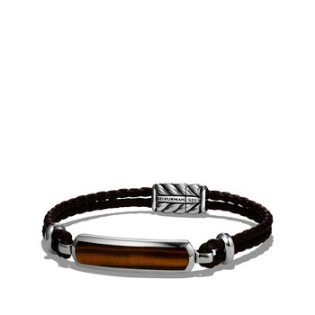 Station Brown Leather Bracelet with Tiger Eye