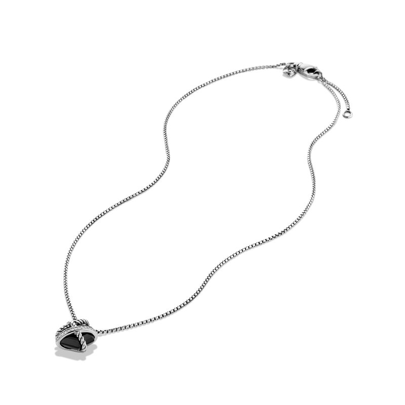 David Yurman Cable Wrap Necklace with Black Onyx and Diamonds